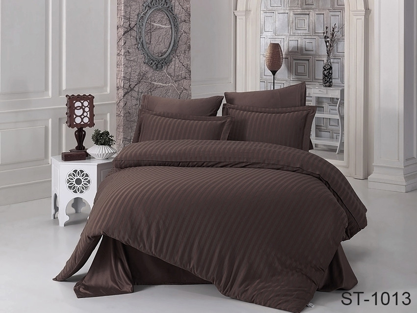 Двуспальный комплект постельного белья коричневого цвета в полоску, Сатин-страйп