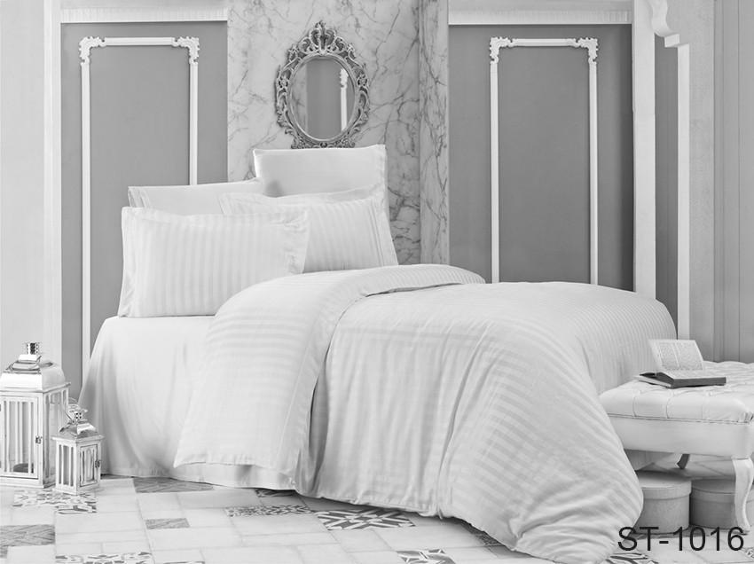 Двуспальный комплект постельного белья белого цвета в полоску, Сатин-страйп