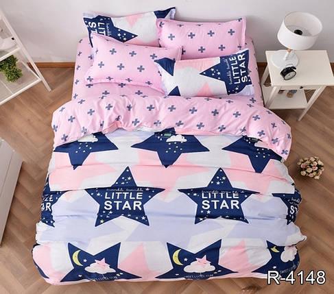 Двуспальный комплект постельного белья розового цвета со звездами, Ранфорс, фото 2