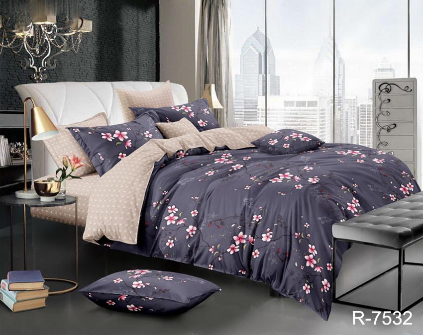 Двуспальный комплект постельного белья черного цвета с цветами, Ранфорс