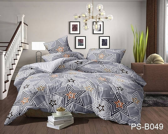 Двуспальный комплект постельного белья серого цвета со звездами, Полисатин, фото 2