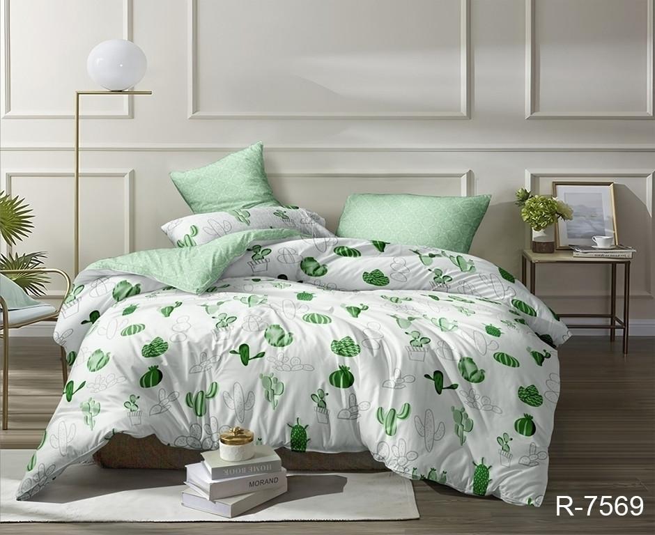Двуспальный комплект постельного белья зеленого цвета с кактусами, Ранфорс