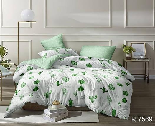 Двуспальный комплект постельного белья зеленого цвета с кактусами, Ранфорс, фото 2