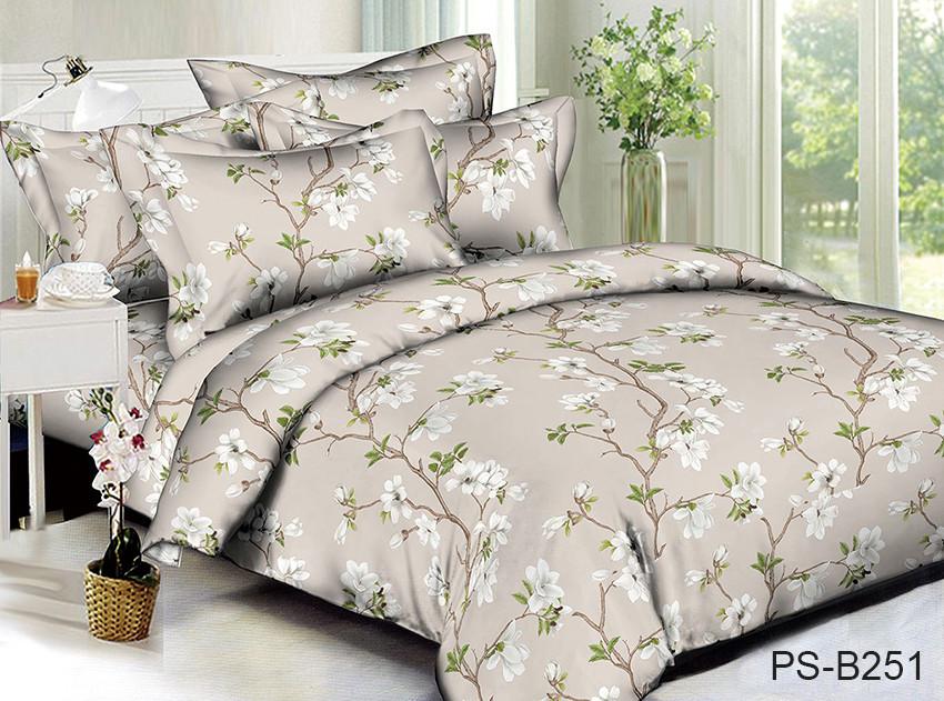 Двуспальный комплект постельного белья бежевого цвета с цветами, Полисатин