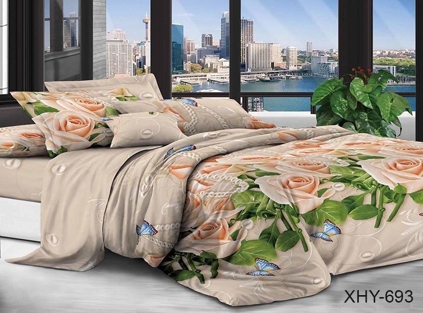 Двуспальный комплект постельного белья бежевого цвета с розами, Поликоттон