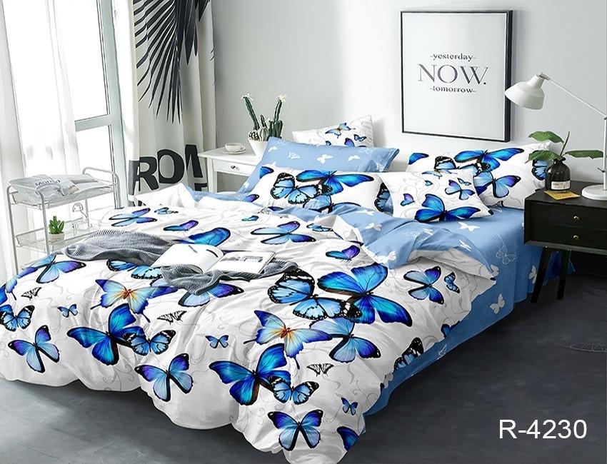 Двуспальный комплект постельного белья голубого цвета с бабочками, Ранфорс