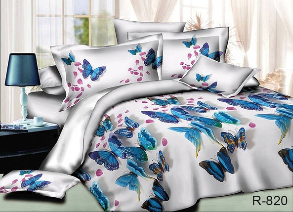Двуспальный комплект постельного белья белого цвета с бабочками, Ранфорс, фото 2
