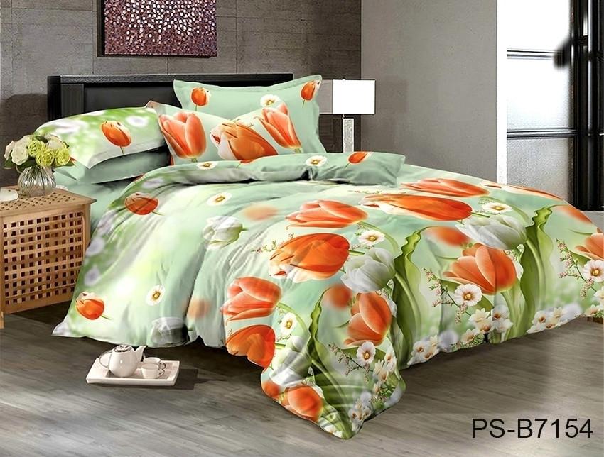 Двуспальный комплект постельного белья зеленого цвета с тюльпанами, Полисатин