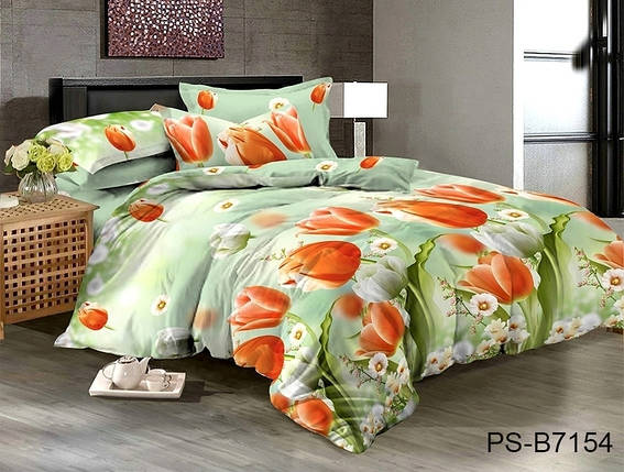 Двуспальный комплект постельного белья зеленого цвета с тюльпанами, Полисатин, фото 2