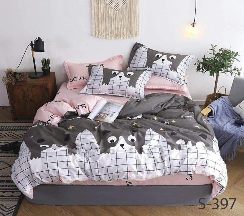 Двуспальный комплект постельного белья с надписью LOVE, Сатин-люкс