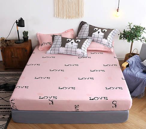 Двуспальный комплект постельного белья с надписью LOVE, Сатин-люкс, фото 2