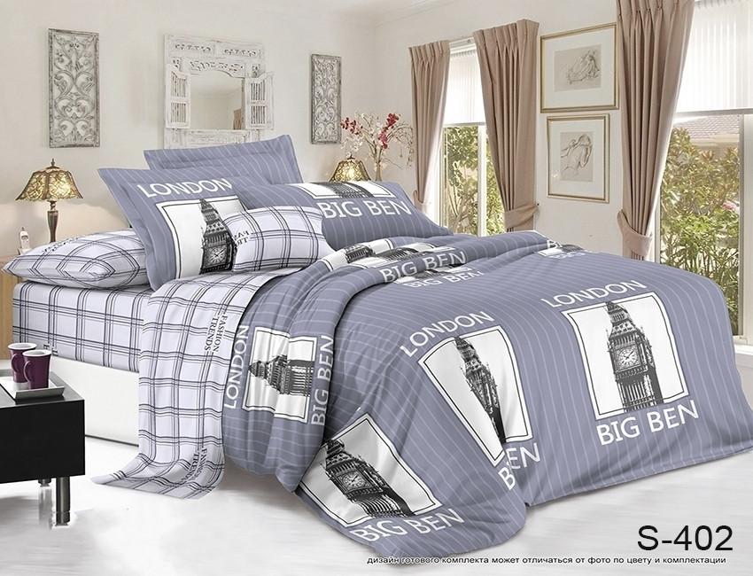 Двуспальный комплект постельного белья серого цвета в полоску Лондон, Сатин-люкс