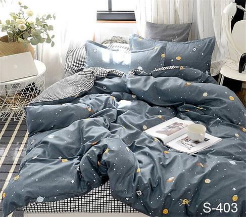 Двуспальный комплект постельного белья серого цвета со звездами, Сатин-люкс, фото 2