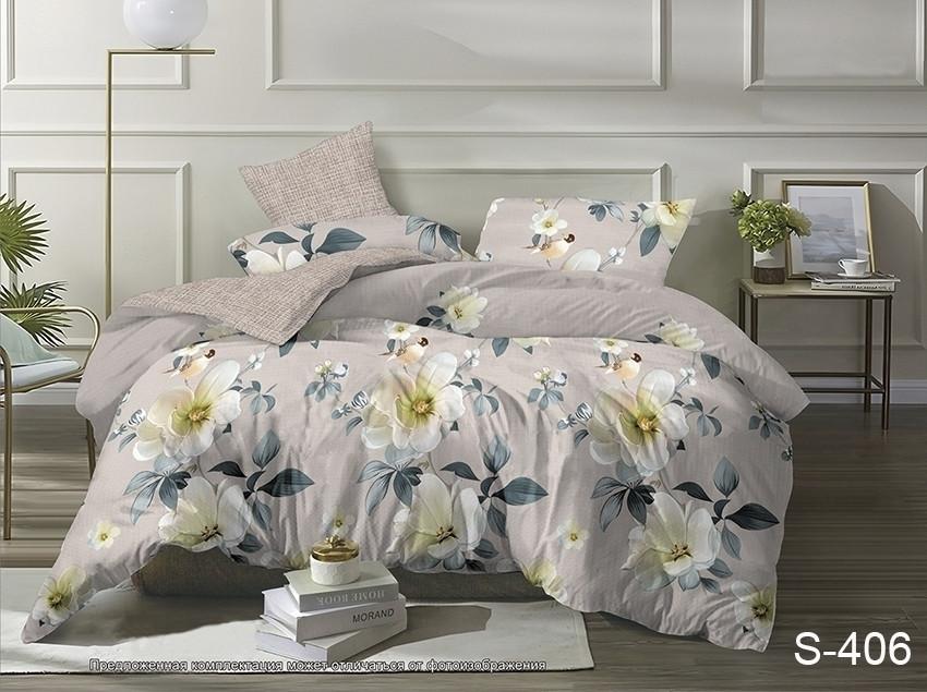 Двуспальный комплект постельного белья бежевого цвета с цветами, Сатин-люкс