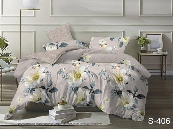 Двуспальный комплект постельного белья бежевого цвета с цветами, Сатин-люкс, фото 2