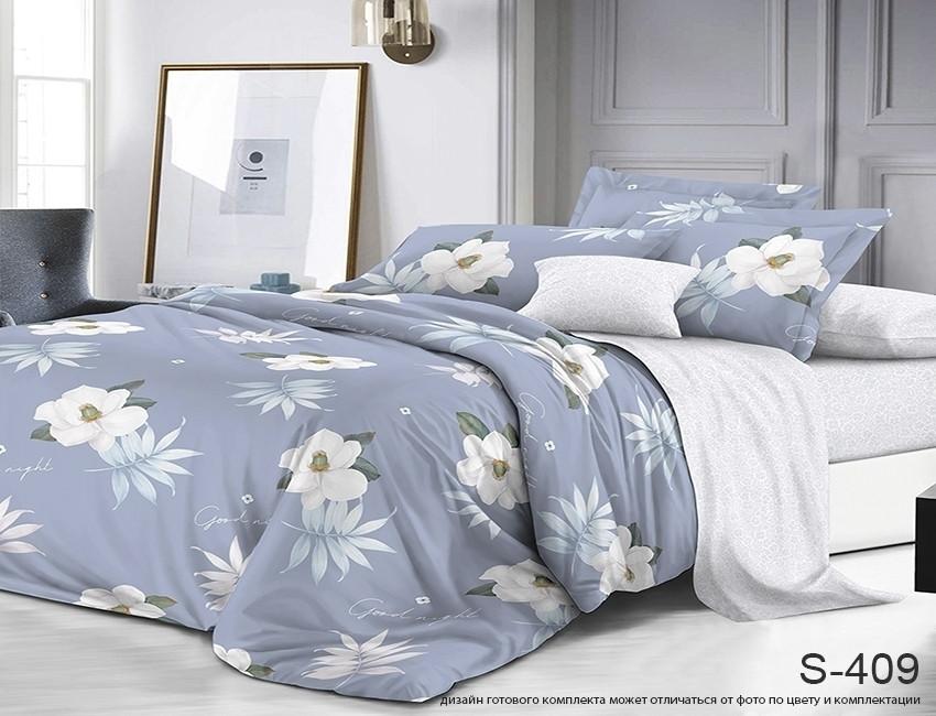 Двуспальный комплект постельного белья серого цвета с цветами, Сатин-люкс