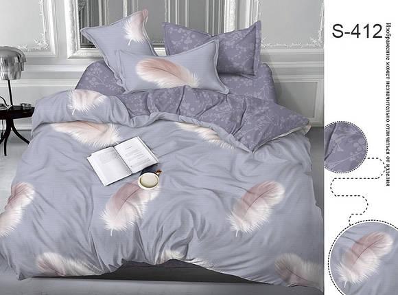 Двуспальный комплект постельного белья серого цвета, Сатин-люкс, фото 2