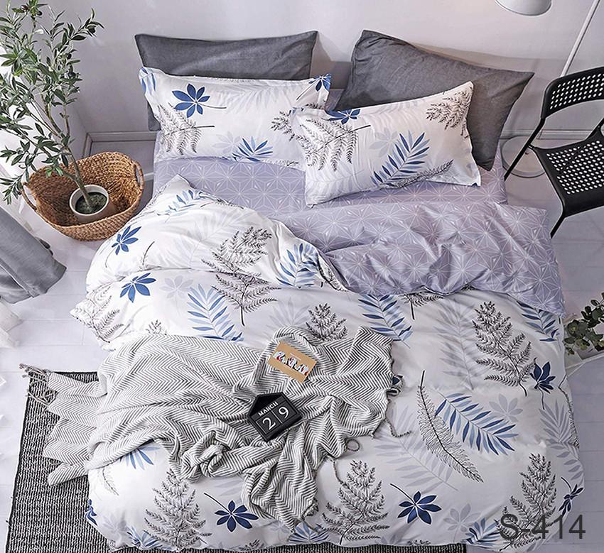 Двуспальный комплект постельного белья белого цвета с цветами, Сатин-люкс