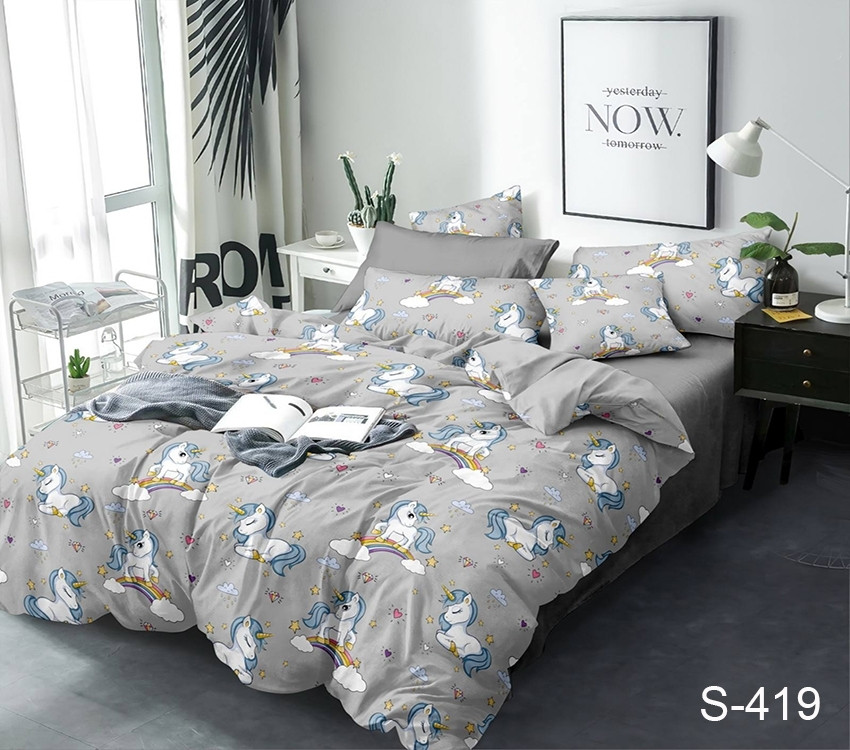 Двуспальный комплект постельного белья серого цвета с единорогами, Сатин-люкс