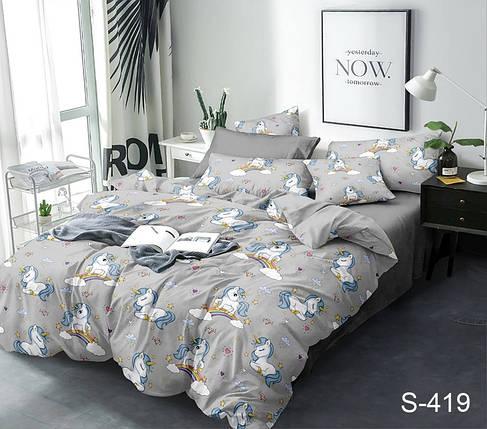 Двуспальный комплект постельного белья серого цвета с единорогами, Сатин-люкс, фото 2