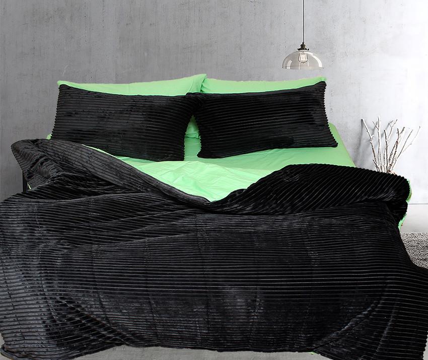 Двуспальный комплект постельного белья зима-лето черного цвета в полоску, Сатин