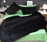 Двуспальный комплект постельного белья зима-лето черного цвета в полоску, Сатин, фото 5