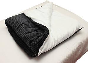 Двуспальный комплект постельного белья зима-лето черного цвета в полоску, Сатин, фото 2
