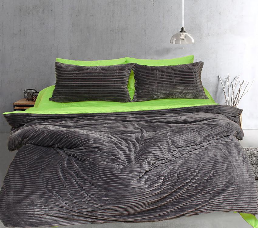 Двуспальный комплект постельного белья зима-лето серого цвета в полоску, Сатин