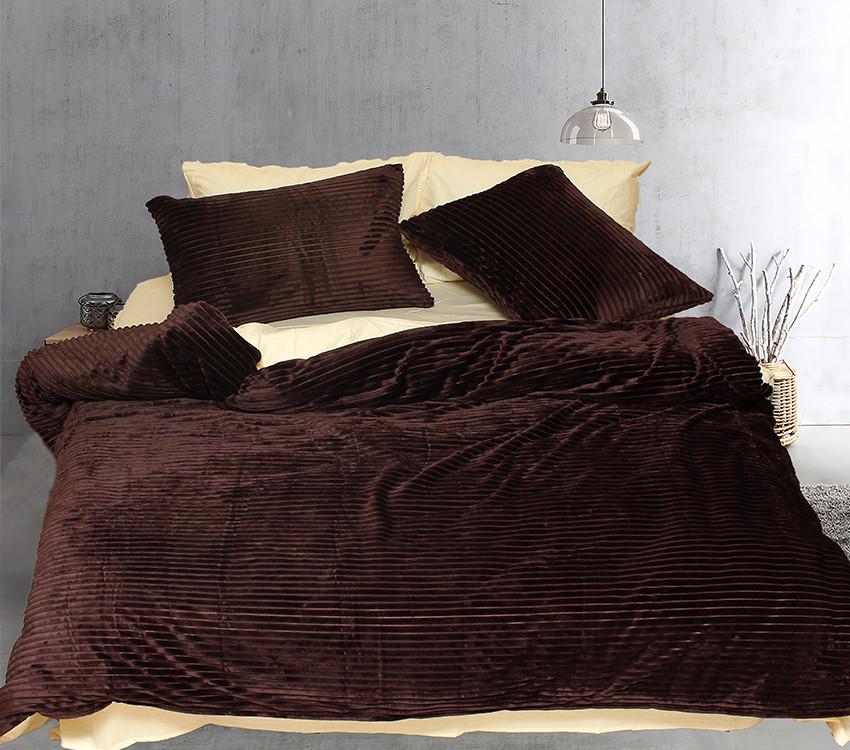 Двуспальный комплект постельного белья зима-лето коричневого цвета в полоску, Сатин