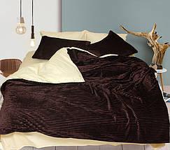Двуспальный комплект постельного белья зима-лето коричневого цвета в полоску, Сатин, фото 3