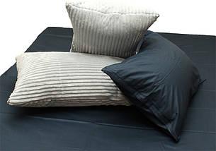 Двуспальный комплект постельного белья зима-лето черного цвета в полоску, Сатин, фото 3