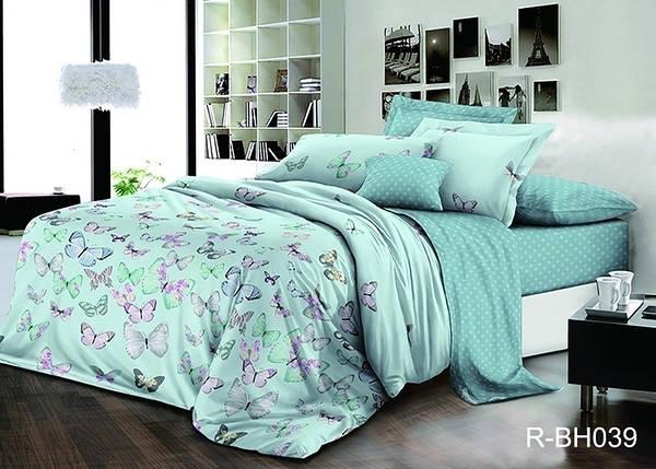 Двуспальный комплект постельного белья голубого цвета с бабочками, Ранфорс, фото 2