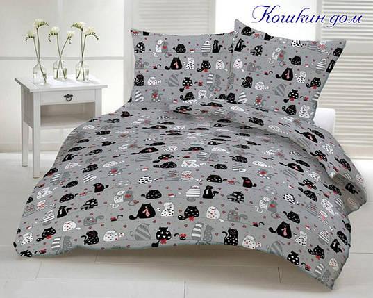 Двуспальный комплект постельного белья серого цвета с котами, Ранфорс, фото 2