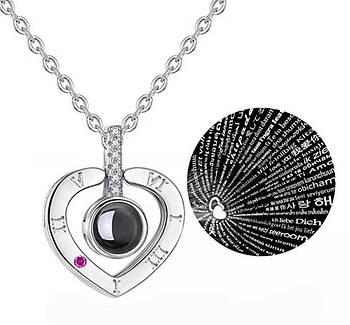 """Кулон с проекцией """" Я тебя люблю"""" на 100 языках мира серебряный Сердце"""