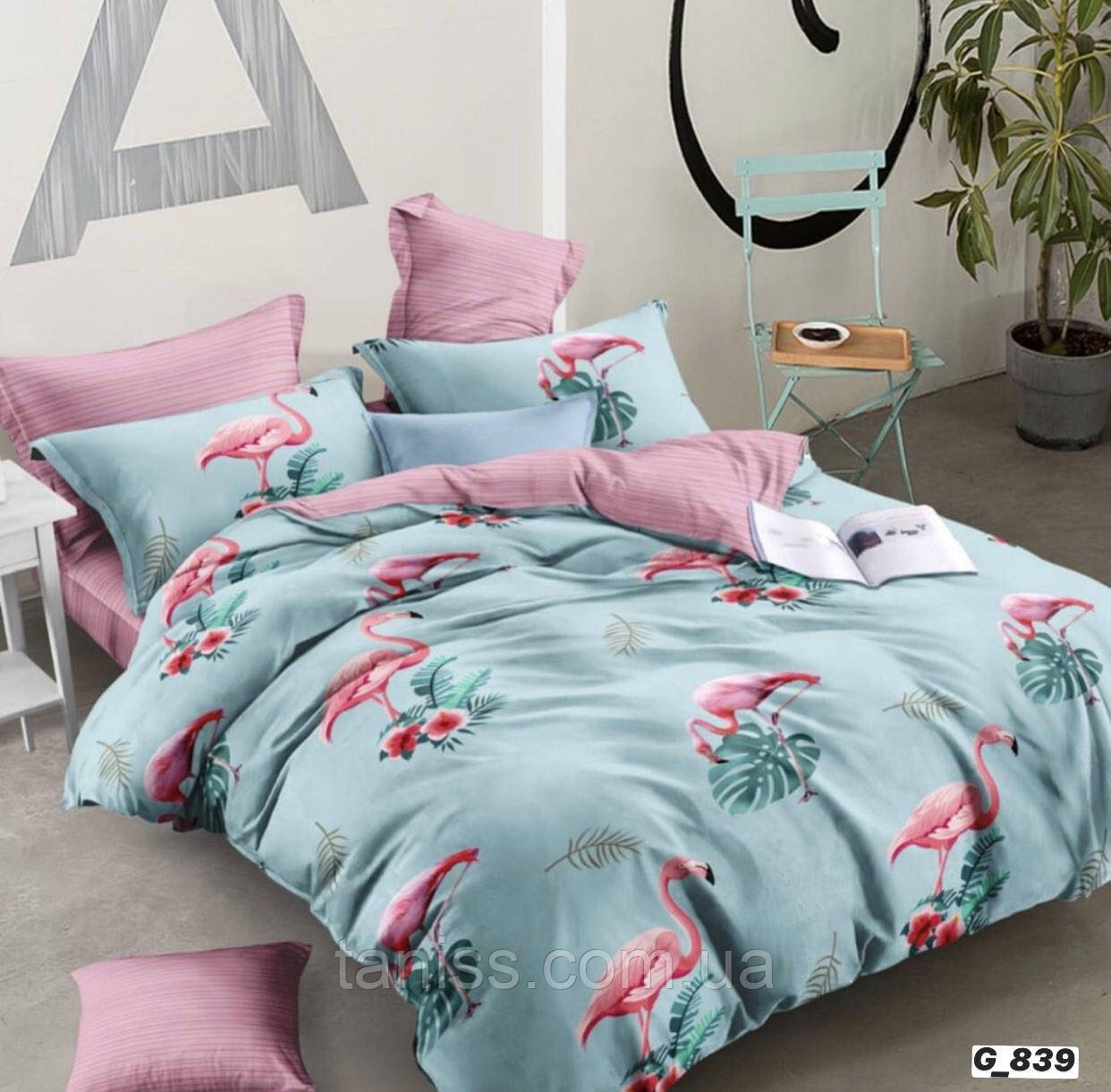 """Семейный набор постельного белья Бязь """"Gold"""",  расцветка как на фото, фламинго на мятном"""