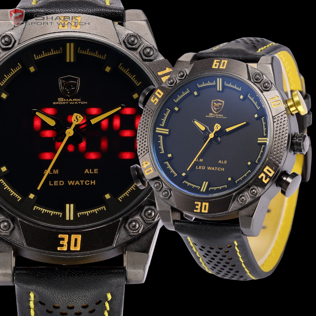 Мужские часы SHARK SH263 Digital Yellow Date Day