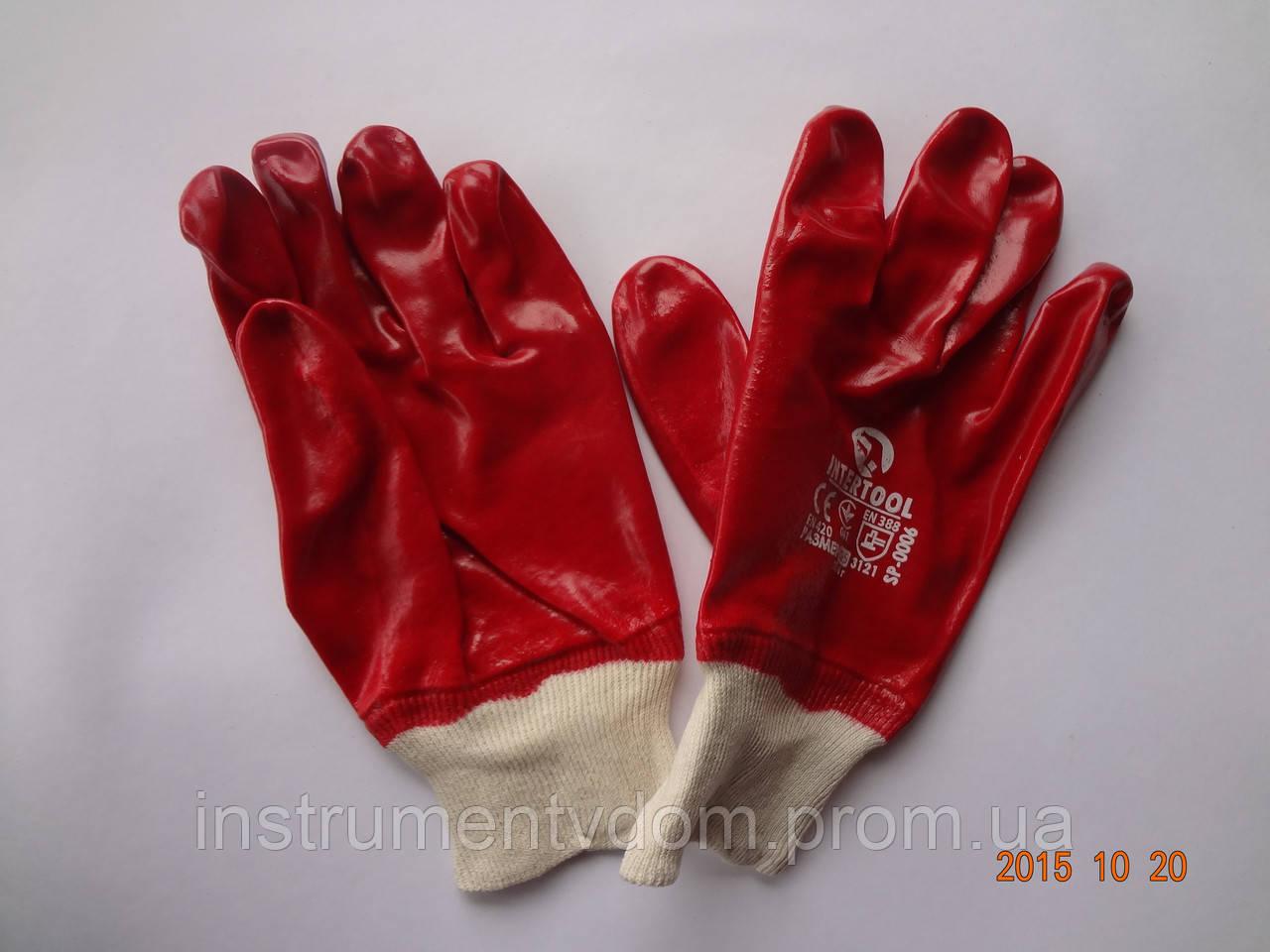 Перчатки красные бензомаслостойкие х/б с ПВХ покрытием INTERTOOL SP-0006 (упаковка 12 пар)