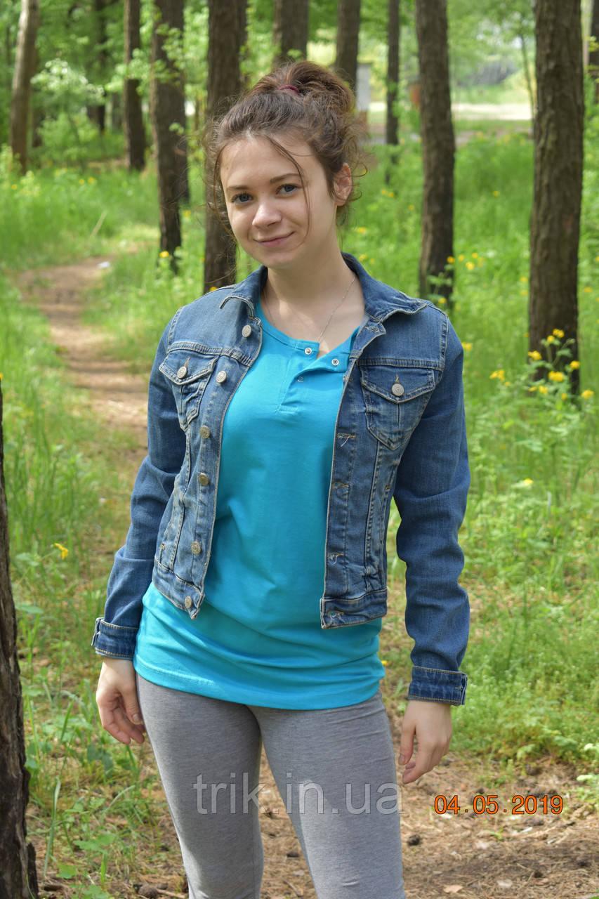 Бирюзовая футболка подростковая застежка-кнопка