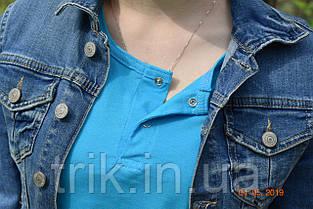 Бирюзовая футболка подростковая застежка-кнопка, фото 3