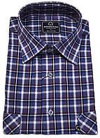 """Рубашка мужская """"Brossard"""". Cиняя клетка.  Длинный рукав"""