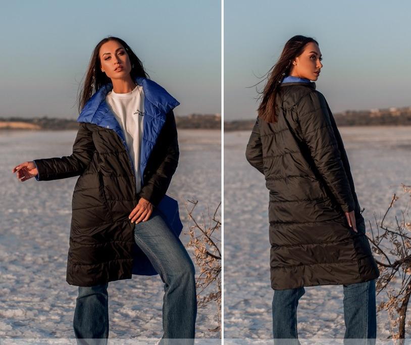 Демисезонная двусторонняя куртка женская, больших размеров  от 50 до 60