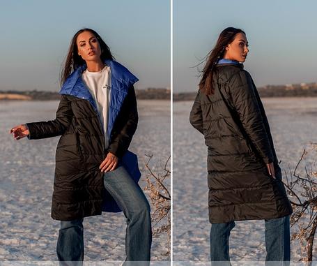 Демисезонная двусторонняя куртка женская, больших размеров  от 50 до 60, фото 2
