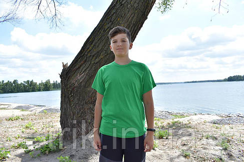 Футболка зеленая подростковая узкая бейка, фото 2