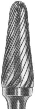Борфреза твердосплавная коническая с закругленным концом (тип L),  22.0 мм, хвостовик 10мм одинарная насечка
