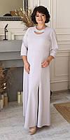 Жіноче ошатне плаття в підлогу з якісної тканини великого розміру