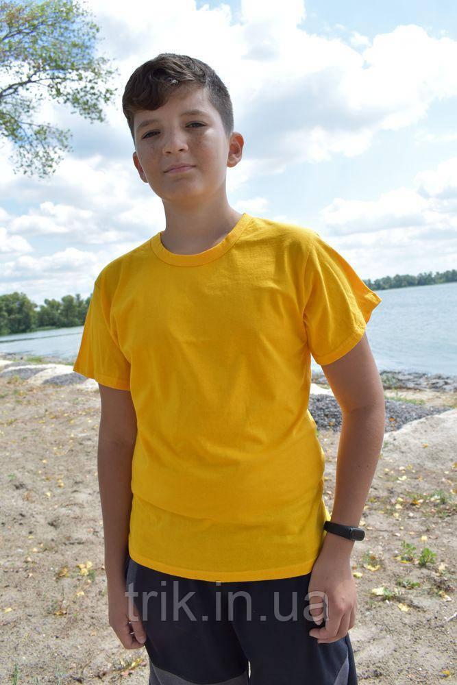 Желтая футболка подростковая узкая бейка