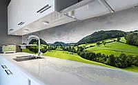 Виниловый кухонный фартук Зеленая Долина (наклейка для кухни ПВХ пленка скинали) холмы Природа 3Д