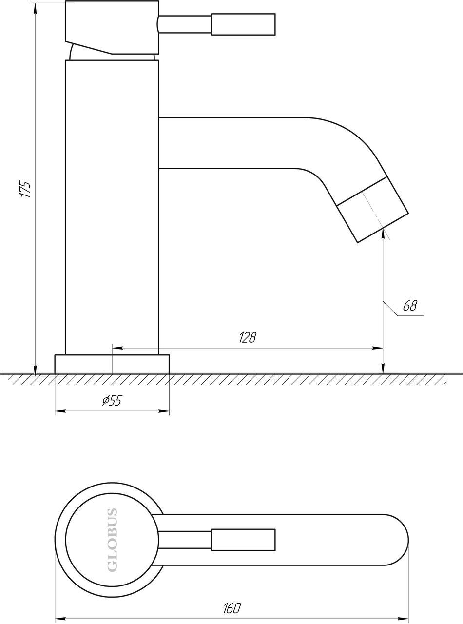 Смеситель для умывальника Globus Lux ALPEN SBT1-101M