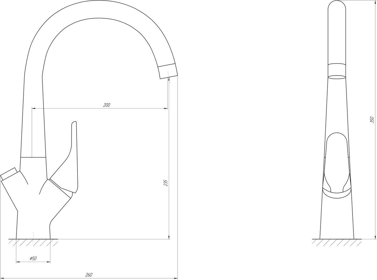 Смеситель для кухни под осмос Globus Lux GLLR-0222-8-STSTEEL
