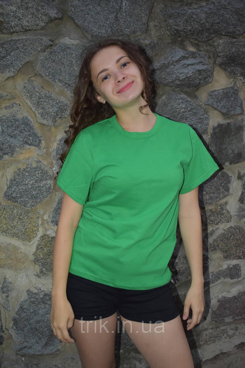 Зеленая футболка подростковая узкая бейка